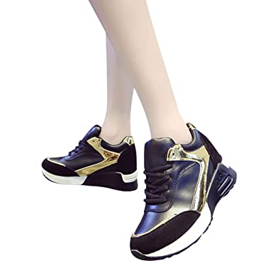 timeless design 2dce7 ce685 Amazon.com  Women s Wedges Sport Sneakers, Ladies Casual Lace-Up Increased  Within Running Walking Athletic Tennis Shoes 5-8.5  Clothing