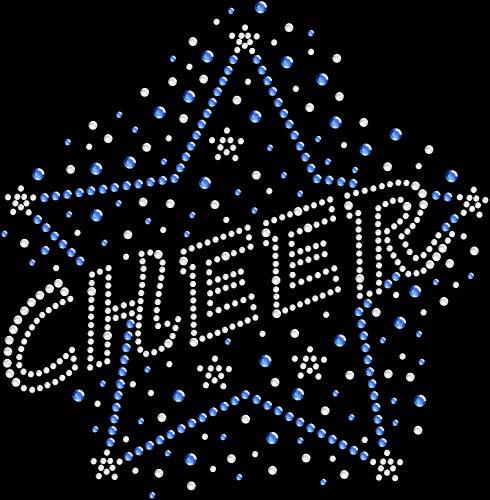 - Rhinestone Bling Sparkle Iron On Transfer DIY Cheer Star Cheerleading Blue