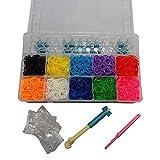DIY Complete KIT/Plastic CASE ~Clips ~Bands ~Loom Loop ~Make Rainbow Bracelets