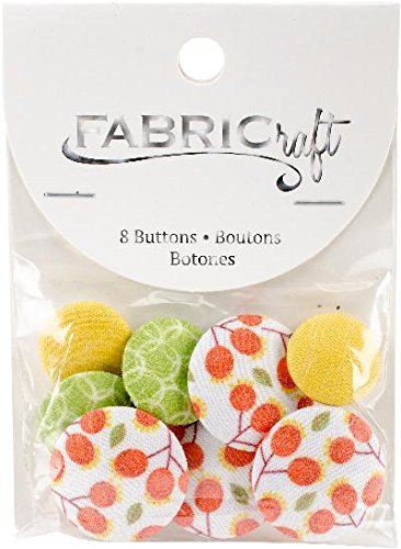 Blumenthal Lansing Company Fabricraft - Fabric Covered Buttons, Green Orange Yellow Floral, 8 Piece (Button Fabric Floral)