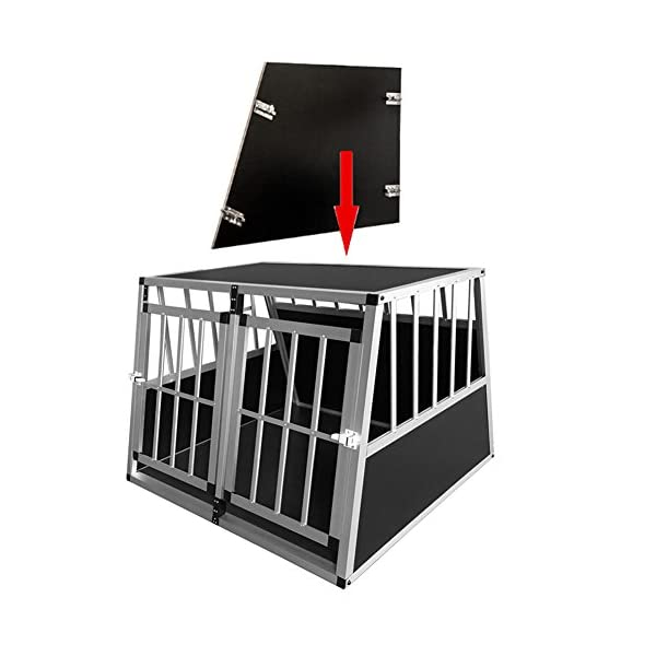Dog Cage, Aluminum Car Dog Cage Travel Car Crate Puppy Transport Pet Carrier WarmieHomy(104 x 91x 70cm) 2