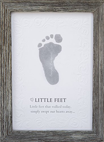The Grandparent Gift Baby Keepsake Kit Farm House Style Frame, Footprint, Grey
