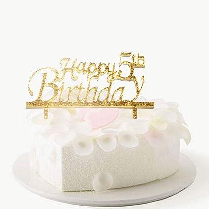 Superb Happy 5Th Birthday Cake Topper 5Th Birthday Cake Topper Babys Funny Birthday Cards Online Necthendildamsfinfo