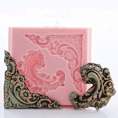 Corner Victorian Scroll Work Silicone Mold Fondant Chocolate Candy Resin Polymer Clay Mold ()