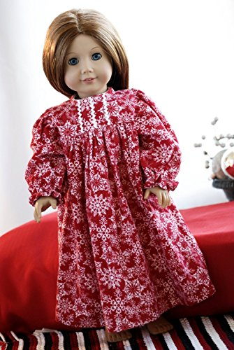 """American Doll Clothes Girl 18"""" Christmas Pajamas - Red Flannel Snowflakes Nightgown with High Gathered Waist and Long Sleeves"""