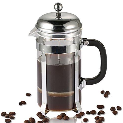 Kaffeebereiter, Coolife chambord Kaffeebereiter Edelstahl Kaffeekanne Cafetière  Kaffeefilter mit Messlöffel (8 Tasse/32-Ounce)