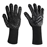 HOMFA Heat Resistant Oven Gloves Silicone BBQ Grill Gloves for Cooking Baking Grilling 1 Pair (Black)