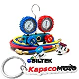 Biltek NEW Professional A/C Air Conditioner Refrigerant Manifold Gauge Kit Set R134a HVAC + KapscoMoto Keychain