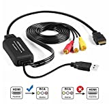 Auskic HDMI to RCA Cable, HDMI to RCA Converter Adapter HDMI to AV Converter HDMI to Composite Converter HDMI Converter for Older TV PS4 Xbox One PS3 PC DVD Fire Stick-HDMI Digital to Analog Converter