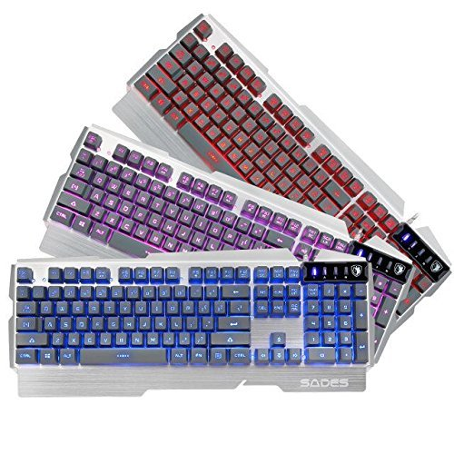 SADES K9 Wired USB Gaming Keyboard with 7 Multi-colours Backlight Metal Panel 104 Keys for PC Laptop Desktop ()