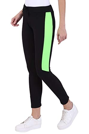 b5f0634f30bd4 Crazy Prints Women's Lycra Stretchable Track Pants (CP-01, Black and Green,