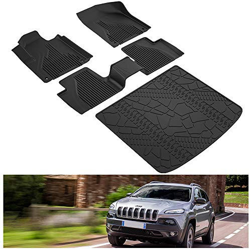 KIWI MASTER Floor Mats & Cargo Liners Set Compatible for 2014-2018 Jeep Cherokee Cargo Floor Slush Liners Black All Weather Protector