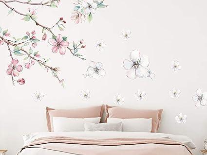 GRAZDesign Wandtattoo Blumen Kirschblüten Vintage - weiße Blüten  Blumenmuster Tapete Schlafzimmer Wandaufkleber über Sofa Bett  Kommode/Blattgröße ...