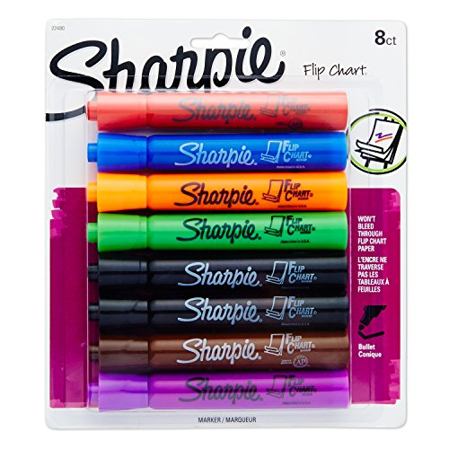 Sharpie 22480PP Flip Chart Markers, Bullet Tip, Assorted Colors, 8-Count (Chart Paper Color)