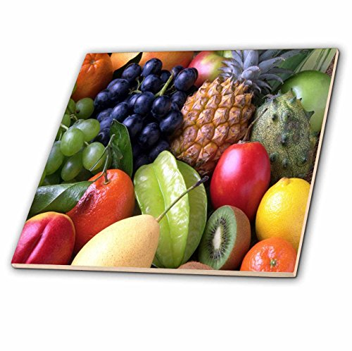 Kiwi Glass Tile (3dRose Food and Beverage - Image of Closeup Photo Of Assorted Fruits - 8 Inch Glass Tile (ct_280001_7))