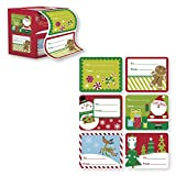 Arts & Crafts : 60 Jumbo Self Adhesive Christmas Gift Tags Labels in Easy To Use Roll Just Pull & Place - Juvenile (6 Different Designs)