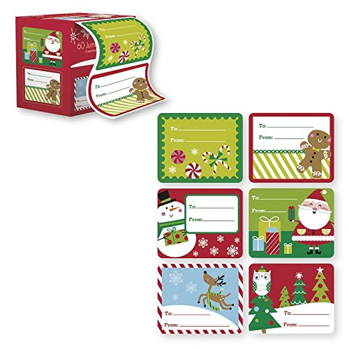 60 Jumbo Self Adhesive Christmas Gift Tags Labels in Easy To Use Roll Just Pull & Place - Juvenile (6 Different Designs) (Juvenile Festive) by Paper Craft