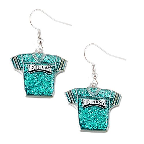 aminco Sports Team Philadelphia Eagles Jersey Dangle Glitter Earring Set