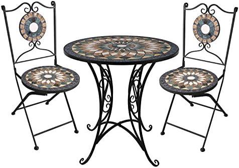 Mosaik Sitzgruppe Gartengarnitur Mosaiktisch Ø70xH72cm 2x Klappstühle Handarbeit