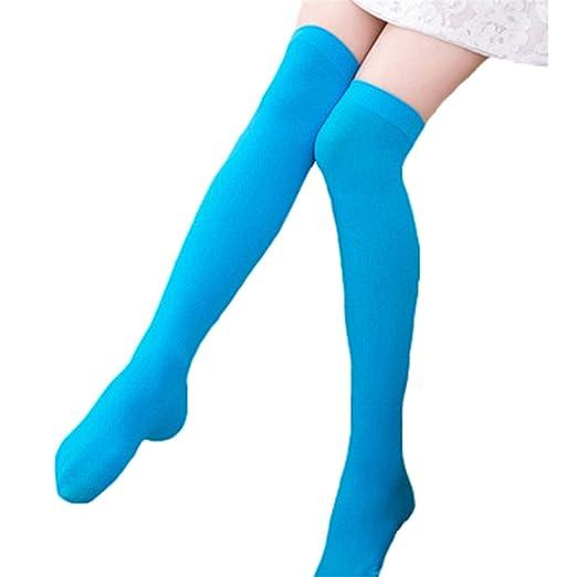 0fb96b0f1e3 Amazon.com  Women Sexy Warm Thigh High Stockings Over Knee Socks Velvet  Calze Stretch Stocking Temptation Medias Overknee Long Socks Azure  Clothing