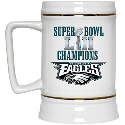 Philadelphia Eagles Beer Mug | Eagles Mug | Super Bowl 52 Champions Philadelphia Eagles | 22 oz White Ceramic Beer Stein | NFL NFC National Football League | Perfect Unique Gift For Any Eagles Fan! ()