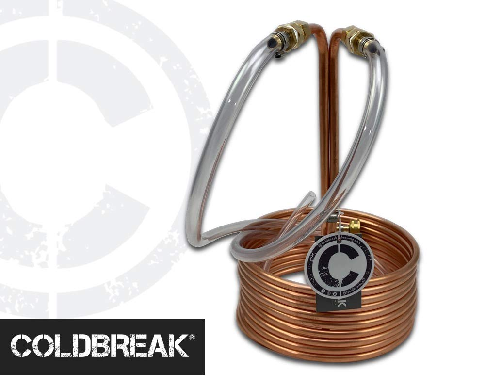 COLDBREAK CB5 25′ Immersion Wort Chiller, 14-inches Tall, Pure USA Copper, Compression Barb Fittings, Leak Free, 3/8…