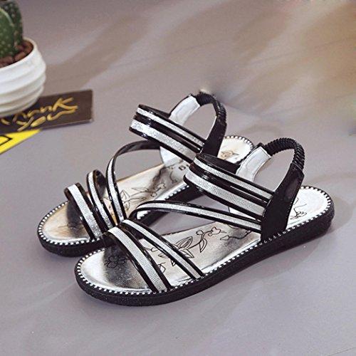 Zapatos del la elástico Cómodo Vovotrade venda Mujeres Diamante negro con Mujeres de gladiador Correa cruz planos del ataron la tobillo plano Sandalias manera Zapato Unq0ZSXqx1