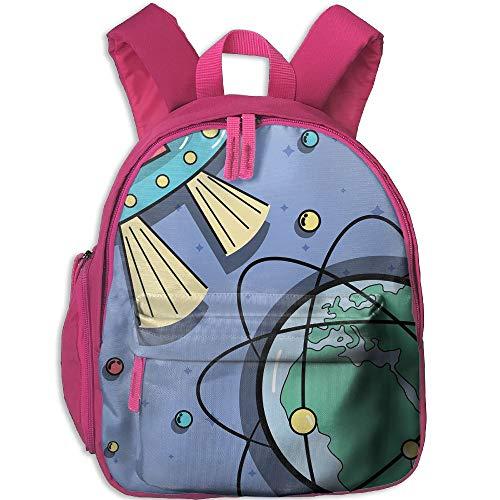 Xyou Unisex Kids Oxford Fabric Travel School Backpack Ufos Orbits Around Earth Planet Children Bookbag