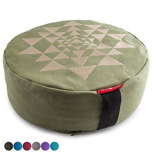 "Peace Yoga Zafu Meditation Yoga Buckwheat Filled Cotton Bolster Pillow Cushion with Premium Designs - Triangles Green 13"" x 13"" Inch"