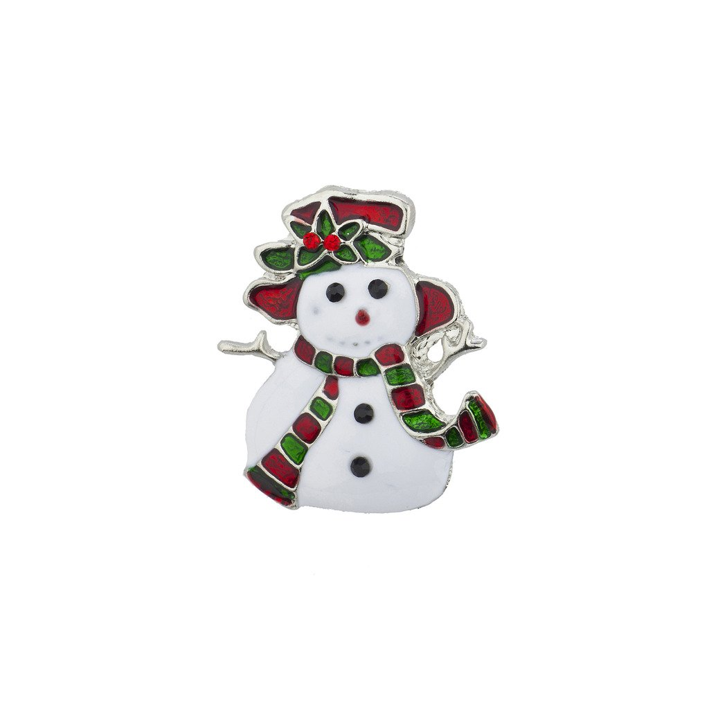 lux accessories holiday christmas xmas white red green enamel snowman brooch pin - Christmas Pins