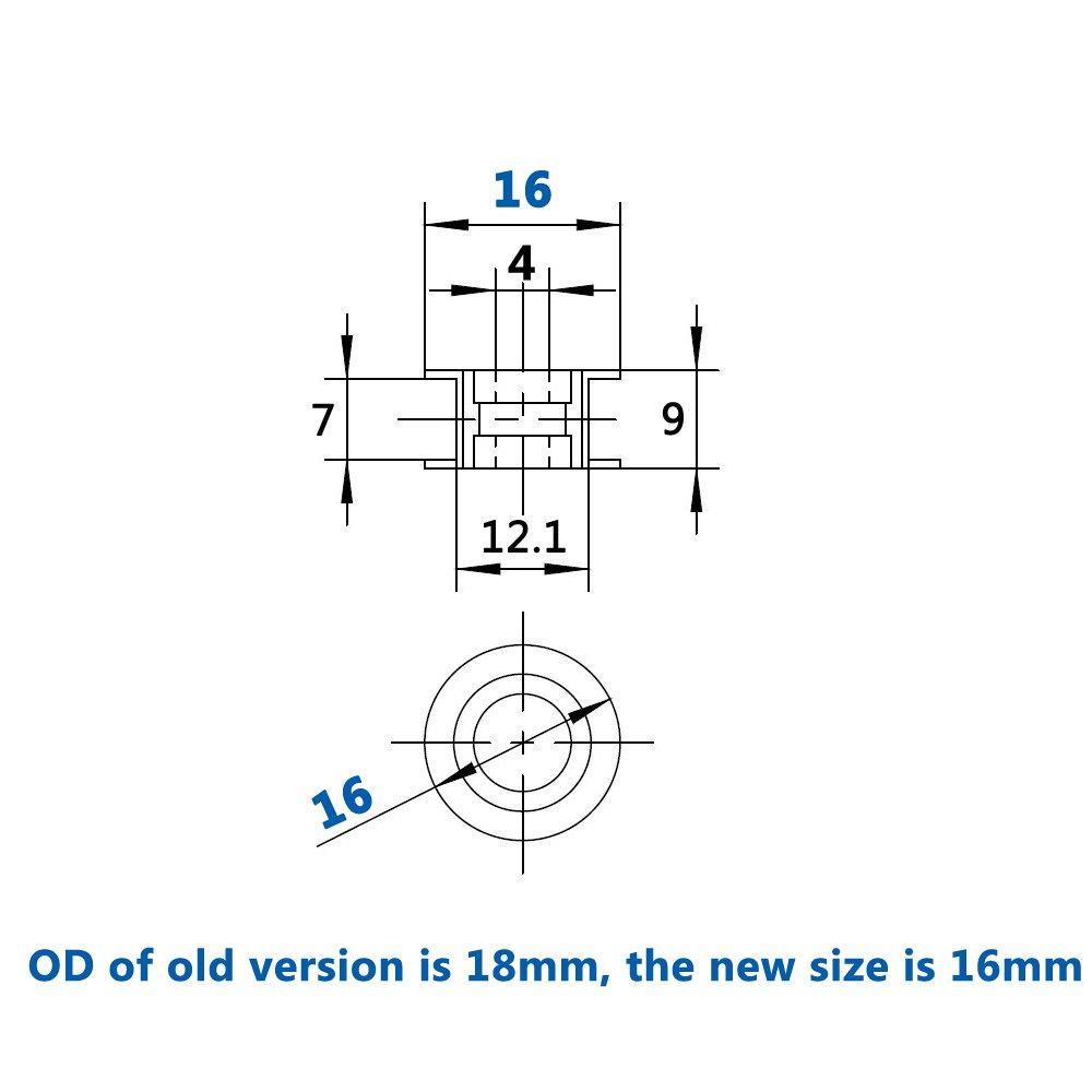 WINSINN 2GT GT2 Aluminum Timing Belt Idler Pulley 20 Teeth Tooth 4mm Bore for 3D Printer 6mm Width Timing Belt (Pack of 5Pcs) by WINSINN (Image #2)