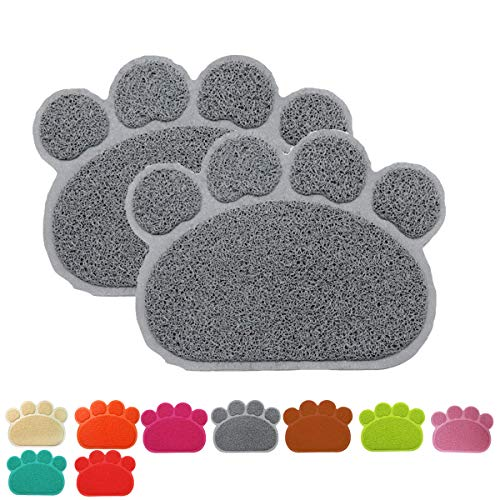 (Onice Pet Feeding Mat for Dogs and Cats, Dog Bowl Mat Cat Dog Bowls,Flexible and Easy to Clean Feeding Mat,Unique Paw Design 2Pcs-30x40cm 11.8x15.7inch Grey)