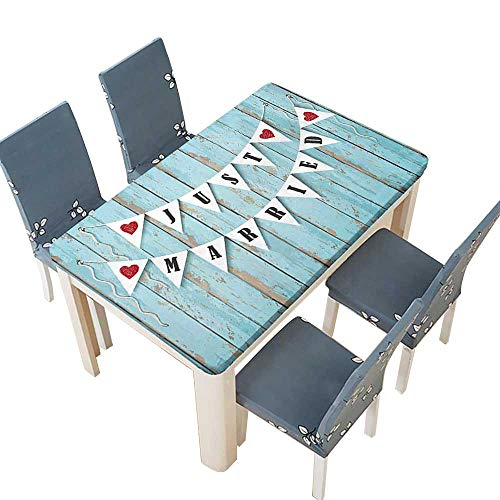 PINAFORE Indoor and Outdoor Tablecloth Just Married Letters on Triangulars Hanged on Blue Wooden Door Blue Black Red Liquid Spills Bead up W37.5 x L76.5 INCH (Elastic Edge)