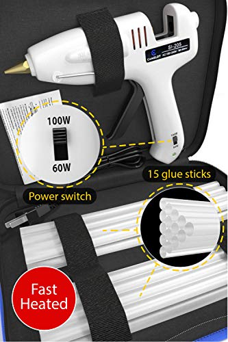 (Hot Melt Glue Gun Kit Professional Industrial High Temperature Hot Glue Gun full size with Switch + 15 Glue Sticks Dual 60/100W Fast Heating DIY Crafts Decoration Jewelry Woodworking Glue Gun)