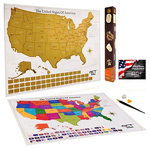 Scratch Off Map United States- 17x22.5in Large Premium Deluxe USA Travel Map Unique Gift Box Amazing Tools US State Poster Adventure Tracker Original Sticker Small Flags Top Quality Ebook by ActFree (Large Usa Sticker)