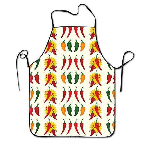 (NienxkseccFunny Apron Chef Kitchen Cooking Apron Bib Cartoon Hot Pepper Grilling Comfortable)