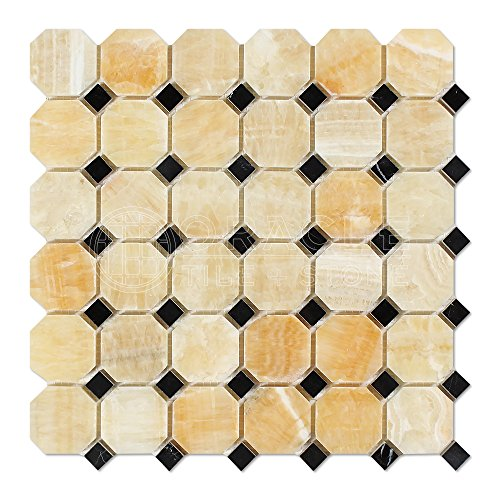 - Honey Onyx Octagon Mosaic Tile with Black Marble Dots, Polished