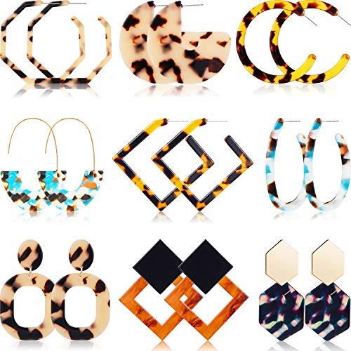 - 9 Pairs Mottled Acrylic Hoop Earrings Resin Stud Earrings Bohemian Statement Stud Drop Dangle Earrings Jewelry for Women Girl (Style Set 4)