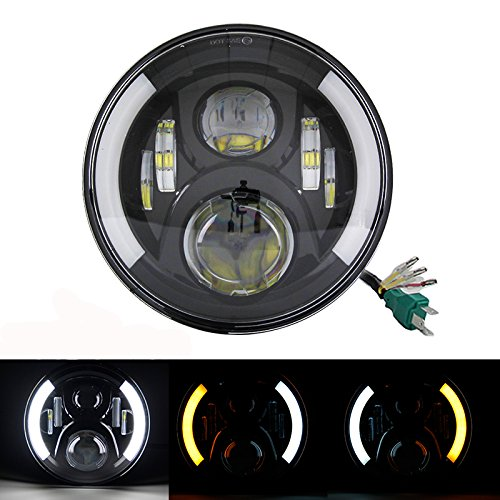 SKUTUGUANG 7 Inch LEd Daymaker Headlight with DRL Turn Signal Lights for Motorcycle Harley Davidsion(Signal Headlight)
