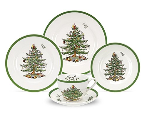 Spode Christmas Tree 5-Piece Dinnerware Set, Service for (Dinnerware Set One Place Setting)