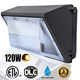 LED Dawn Wall Pack Light Fixture, 120W(500~600W HPS/HID Bulb Replacement), Warm White 2500K Wall Mount Pack Light, Waterproof Exterior/Outdoor/Entrance Security Light, Outdoor Security Lighting