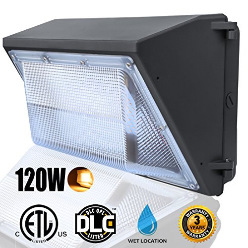 LED Dawn Wall Pack Light Fixture, 120W(500~600W HPS/HID Bulb Replacement), Warm White 2500K Wall Mount Pack Light, Waterproof Exterior/Outdoor/Entrance Security Light, Outdoor Security Lighting 2500 Steel Light