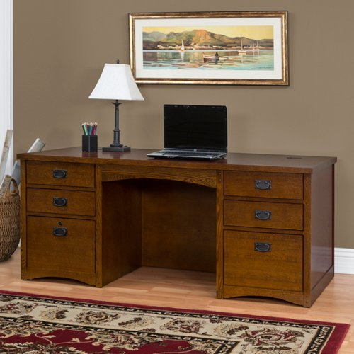 Mission Oak Executive Desk Mission Oak Finish - Martin Furniture Oak Executive Desk