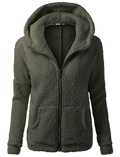 t Women, Hooded Sweater Coat Winter Warm Wool Zipper Coat Cotton Outwear (Army Green, L) ()