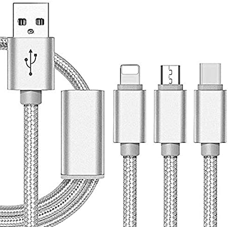 Kanggest.3 en 1 Cable USB para iPhone/Android/Type-C Nylon Cable ...