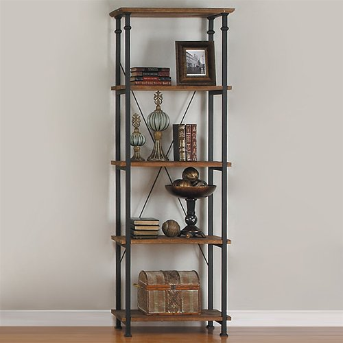 Home Elegance Factory Bookcase by in Rustic Brown