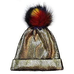 Gold-C Sequin Beanie Hat with Faux Fur