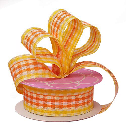 Yellow Orange Gingham Easter Ribbon - 1 1/2