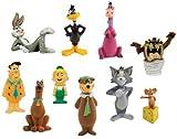 Hanna Barbera / Loony Tunes Classic Cartoon Charater Mini Figure Vending Toy Set of 10 with Tom and Jerry, Scooby-Doo, Fred Flintstone, Yogi Bear, Bugs Bunny Etc