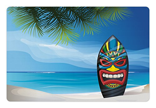 Ocean Tiki Mask (Tiki Bar Pet Mats for Food and Water by Ambesonne, Tiki Warrior Mask Design Surfboard on Ocean Beach Abstract Landscape Surf Print, Rectangle Non-Slip Rubber Mat for Dogs and Cats, Multicolor)